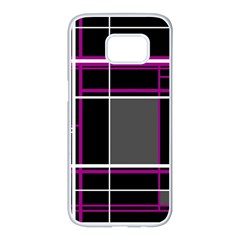 Simple Magenta Lines Samsung Galaxy S7 Edge White Seamless Case