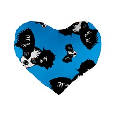 Cute Face Dog Funny Detective Standard 16  Premium Heart Shape Cushions