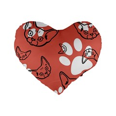 Face Cat Pink Cute Standard 16  Premium Heart Shape Cushions