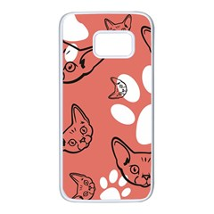 Face Cat Pink Cute Samsung Galaxy S7 White Seamless Case