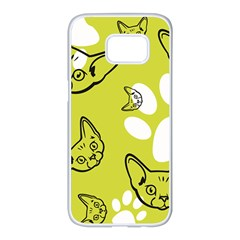 Face Cat Green Samsung Galaxy S7 Edge White Seamless Case