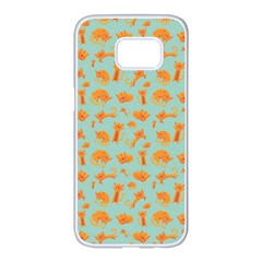 Cute Cat Animals Orange Samsung Galaxy S7 Edge White Seamless Case
