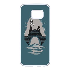 Man And Black Cat Samsung Galaxy S7 Edge White Seamless Case