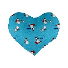 Snowman Standard 16  Premium Heart Shape Cushions