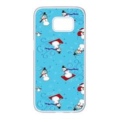Snowman Samsung Galaxy S7 Edge White Seamless Case