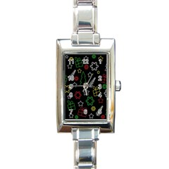 Colorful Xmas pattern Rectangle Italian Charm Watch