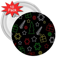 Colorful Xmas pattern 3  Buttons (10 pack)