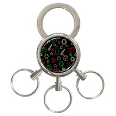 Colorful Xmas pattern 3-Ring Key Chains