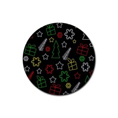 Colorful Xmas pattern Rubber Coaster (Round)