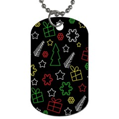 Colorful Xmas pattern Dog Tag (One Side)