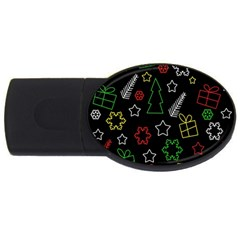 Colorful Xmas pattern USB Flash Drive Oval (2 GB)