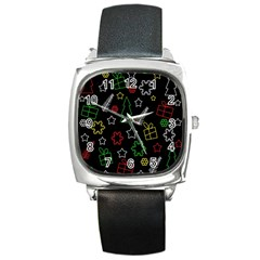 Colorful Xmas pattern Square Metal Watch