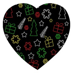 Colorful Xmas pattern Jigsaw Puzzle (Heart)
