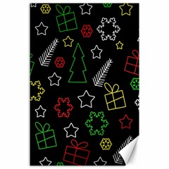 Colorful Xmas pattern Canvas 24  x 36