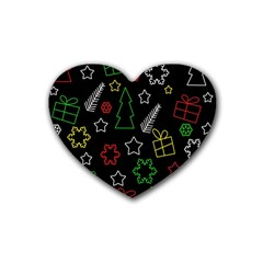 Colorful Xmas pattern Heart Coaster (4 pack)