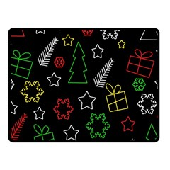 Colorful Xmas pattern Fleece Blanket (Small)