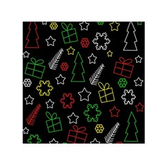 Colorful Xmas pattern Small Satin Scarf (Square)