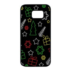 Colorful Xmas pattern Samsung Galaxy S7 edge Black Seamless Case