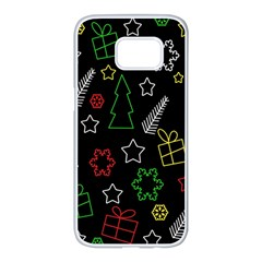 Colorful Xmas pattern Samsung Galaxy S7 edge White Seamless Case