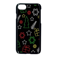 Colorful Xmas pattern Apple iPhone 7 Seamless Case (Black)
