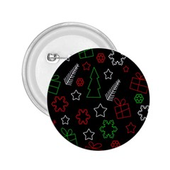 Green and  red Xmas pattern 2.25  Buttons