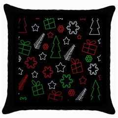 Green and  red Xmas pattern Throw Pillow Case (Black)