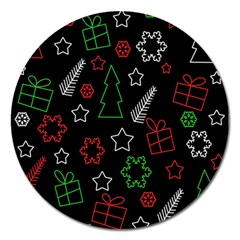 Green and  red Xmas pattern Magnet 5  (Round)