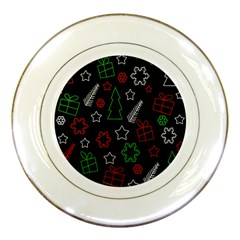 Green and  red Xmas pattern Porcelain Plates