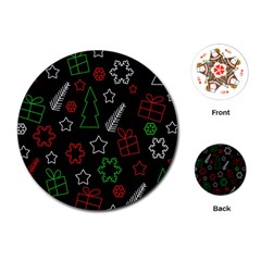 Green and  red Xmas pattern Playing Cards (Round)