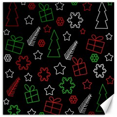 Green and  red Xmas pattern Canvas 12  x 12