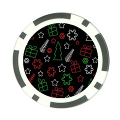 Green and  red Xmas pattern Poker Chip Card Guards