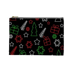 Green and  red Xmas pattern Cosmetic Bag (Large)
