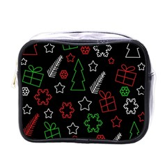 Green and  red Xmas pattern Mini Toiletries Bags