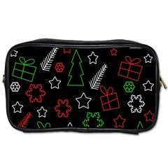 Green and  red Xmas pattern Toiletries Bags