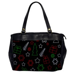 Green and  red Xmas pattern Office Handbags
