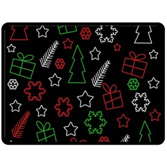 Green and  red Xmas pattern Fleece Blanket (Large)
