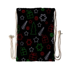 Green and  red Xmas pattern Drawstring Bag (Small)
