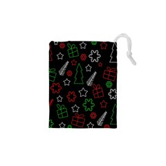 Green and  red Xmas pattern Drawstring Pouches (XS)