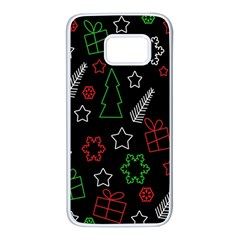 Green and  red Xmas pattern Samsung Galaxy S7 White Seamless Case