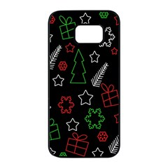 Green and  red Xmas pattern Samsung Galaxy S7 edge Black Seamless Case