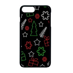 Green And  Red Xmas Pattern Apple Iphone 7 Plus Seamless Case (black)