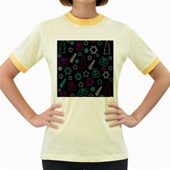 Creative Xmas pattern Women s Fitted Ringer T-Shirts