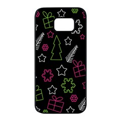 Elegant Xmas pattern Samsung Galaxy S7 edge Black Seamless Case