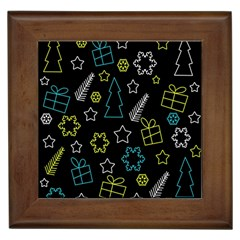 Xmas pattern - Blue and yellow Framed Tiles