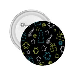 Xmas pattern - Blue and yellow 2.25  Buttons