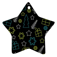 Xmas pattern - Blue and yellow Ornament (Star)