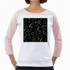 Xmas pattern - Blue and yellow Girly Raglans
