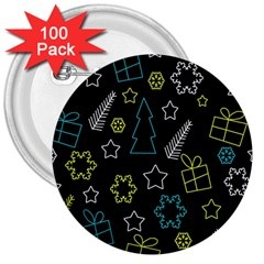 Xmas pattern - Blue and yellow 3  Buttons (100 pack)