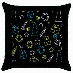 Xmas pattern - Blue and yellow Throw Pillow Case (Black)