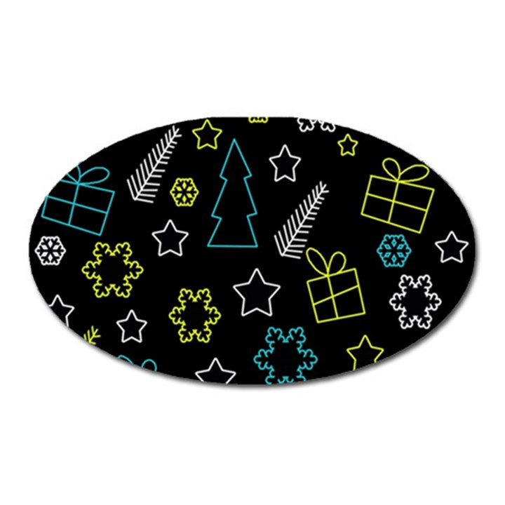 Xmas pattern - Blue and yellow Oval Magnet